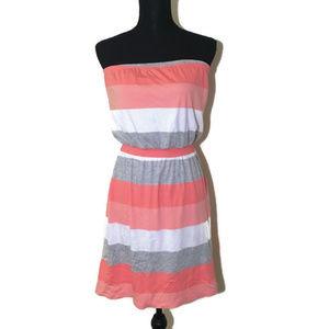 Banana Republic Pink, Gray, White Strapless Dress